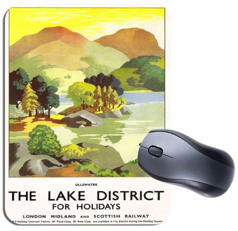 Lake District Vintage Railway Poster Mouse Mat. Ullswater Train Travel Mouse Pad